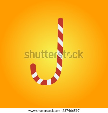 Candy cane isolated. Vector illustration - stock vector