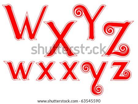 Candy Cane Swirl Letters W w X x Y y Z z - stock vector