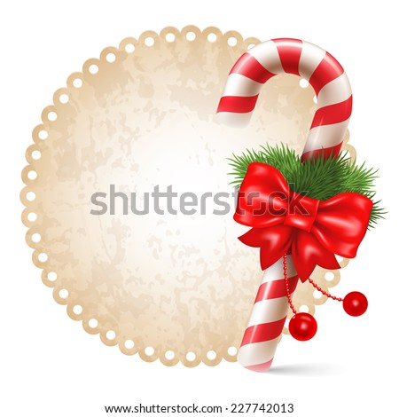 Candy cane with christmas decoration, winter holidays symbol on vintage background.  Vector illustration. Isolated on white background. - stock vector