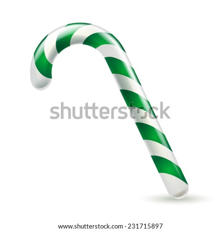 Candy cane with green and white stripes. Christmas sweet treat. - stock vector