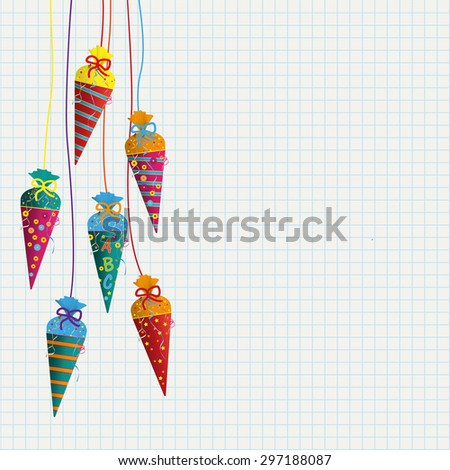 Candy cones with ABC on the checked paper background. Eps 10 vector file. - stock vector