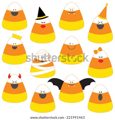 Candy Corn Clip Art Set. Candy Corn in Halloween costumes graphics created using vector software. - stock vector