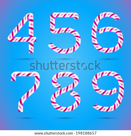 Candy 3D alphabet. Candy numbers. Sweet numbers. Vector numbers. Candy font. Typography. Number 4. Number 5. Number 6. Number 7. Number 8. Number 9. Four. Five. Six. Seven. Eight. Nine.  - stock vector
