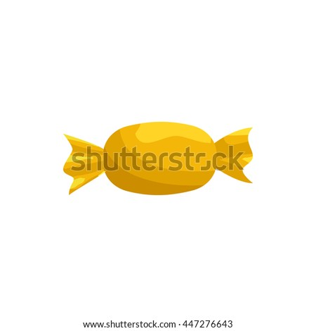 Candy in yellow wrapper icon in cartoon style on a white background - stock vector
