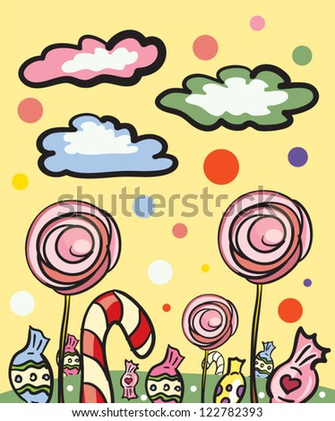 Candy Land Cartoon Illustration - stock vector