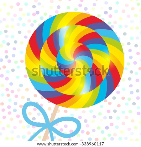 candy lollipops with bow, spiral candy cane with bright rainbow stripes. Candy on stick with twisted design on white abstract geometric retro polka dot background. Vector - stock vector