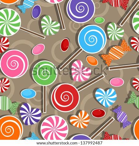 Candy party celebration, seamless pattern background - stock vector