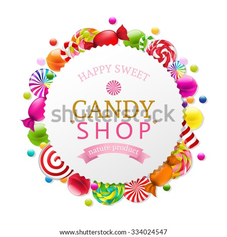 Candy Poster With Gradient Mesh, Vector Illustration - stock vector