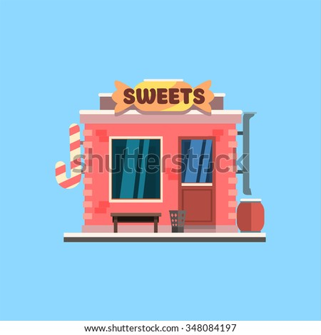 Candy Shop Front window buildings. Flat Vector Illustration - stock vector