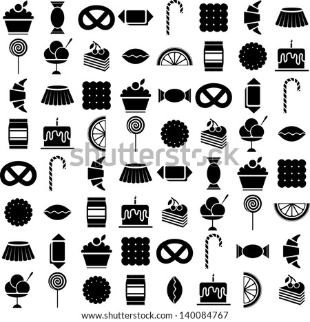 candy vector icons set - stock vector