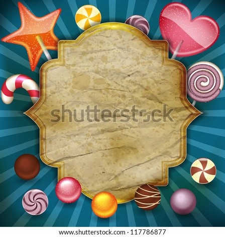 candy with vintage label - stock vector