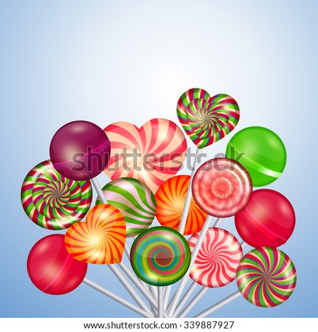 Candys, sweets, lollipops background. Food and candy, sugar dessert and color spiral, vector illustration - stock vector