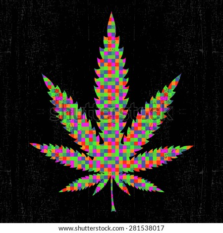 Cannabis colorful pixel leaf on grunge black background. vector illustration - stock vector
