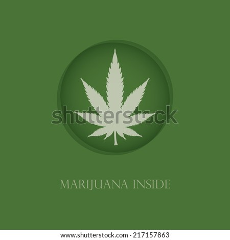 Cannabis leaf in green circle. Vector illustration - stock vector