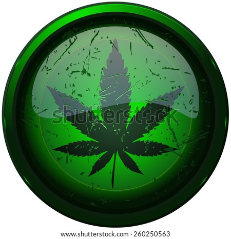 Cannabis Leaf Round Glowing Grunge Sign, Vector Illustration isolated on White Background.  - stock vector