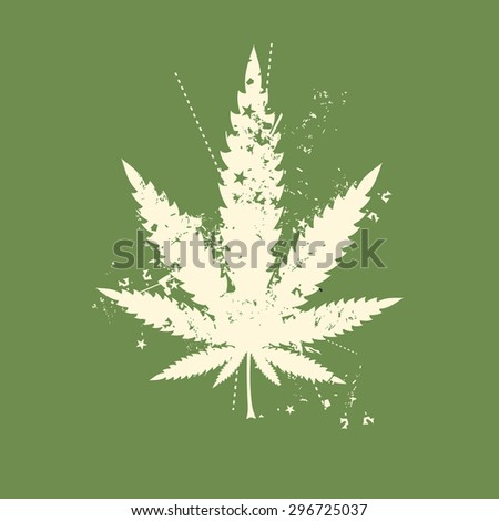 Cannabis leaf with grunge color elements. vector illustration. - stock vector