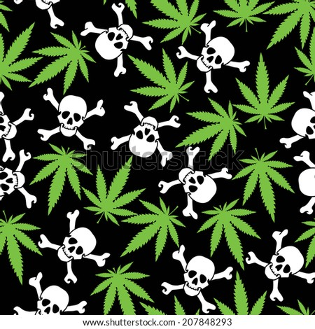 Cannabis leafs with skulls - seamless pattern - stock vector