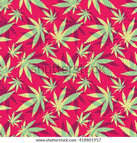 Cannabis leaves - seamless pattern - stock vector