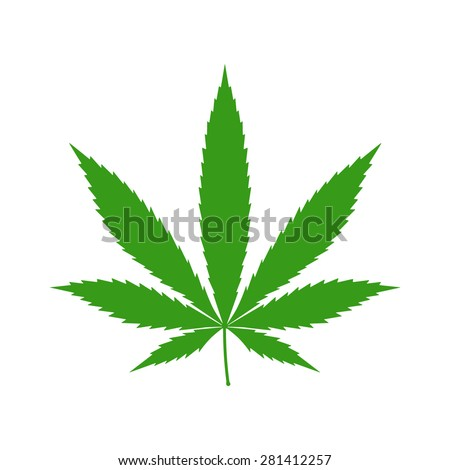Cannabis (marijuana) hemp leaf flat icon for apps and websites - stock vector