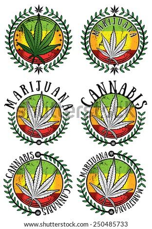cannabis marijuana leaf symbol jamaican style sticker vector illustration - stock vector