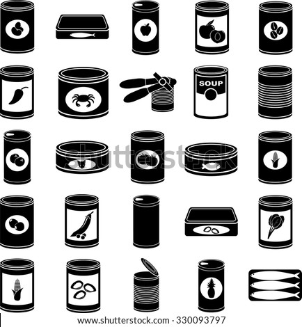 canned food symbols set - stock vector