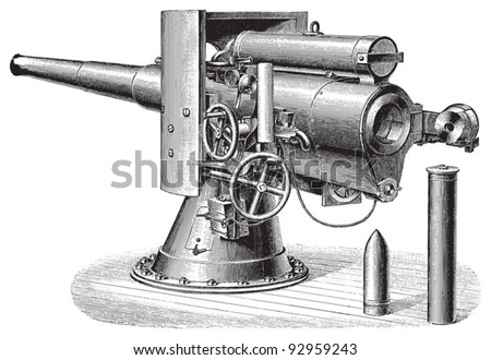 Cannon (12cm) / vintage illustration from Meyers Konversations-Lexikon 1897 - stock vector