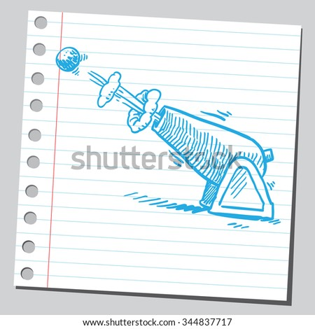 Cannon firing cannon ball - stock vector