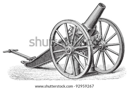 Cannon (from Russia) / vintage illustration from Meyers Konversations-Lexikon 1897 - stock vector