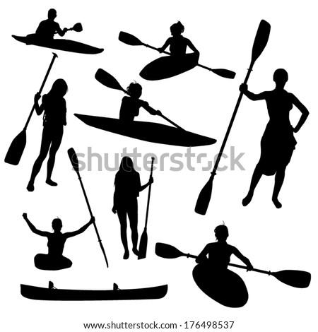 Canoe silhouettes - stock vector