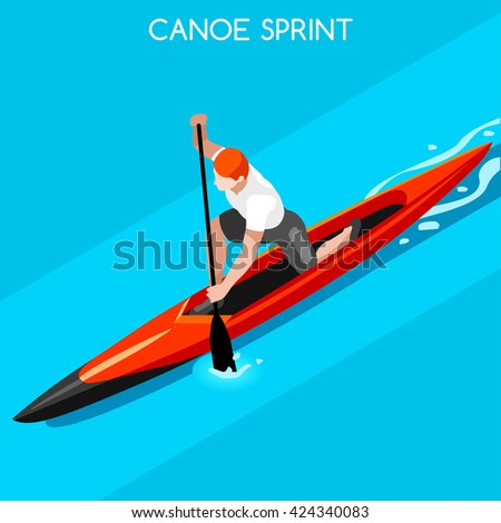 Canoe Sprint 2016 Summer Games Icon Set.3D Isometric Canoeist Paddler. Sprint Canoe Sporting Competition Race. Sports Recreation Infographic Canoe olympics Vector Illustration. - stock vector