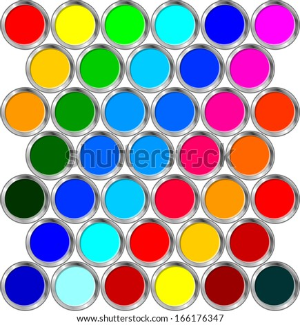 Cans of paint - stock vector