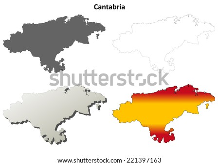 Cantabria blank detailed outline map set - stock vector