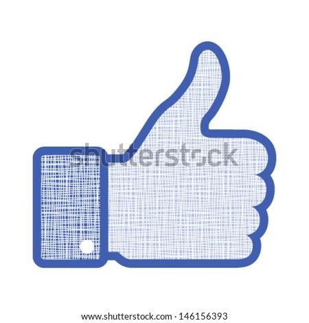canvas thumb up, vector illustration  - stock vector