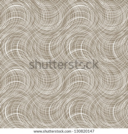 Canvas vector texture wave seamless pattern, white on brown - stock vector