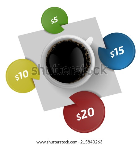 Cap of coffee with stickers  - stock vector