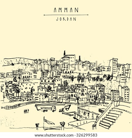 Capital city of Amman, Jordan, Middle East. Black and white vintage artistic hand drawn postcard or poster in vector - stock vector