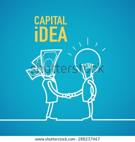Capital idea business partners shaking hands. - stock vector