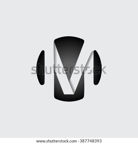 Capital letter M. Made of wide white stripes Overlapping with shadows. Logo, monogram, emblem trendy design. - stock vector