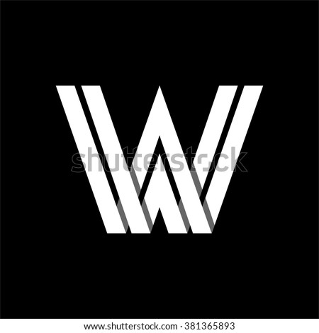 Capital letter W. Made of wide white stripes Overlapping with shadows. Logo, monogram, emblem trendy design.  - stock vector