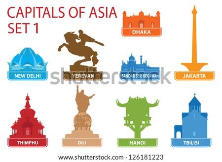 Capitals of Asia. Set 1 - stock vector