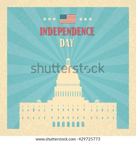 Capitol Building United States Of America Senate House Independence Day Banner Vector Illustration - stock vector