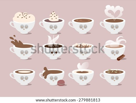 Cappuccino, cocoa. Hot drink. Everyone needs coffee. Vector illustration of comic characters coffee.  Infographic of coffee types and their preparation on background.  Icons set of coffee. - stock vector
