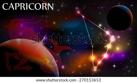 Capricorn - Space Scene with Astrological Sign and copy space - stock vector