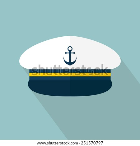 Captain hat icon. Sailor cap. Flat style with long shadow. Vector illustration - stock vector