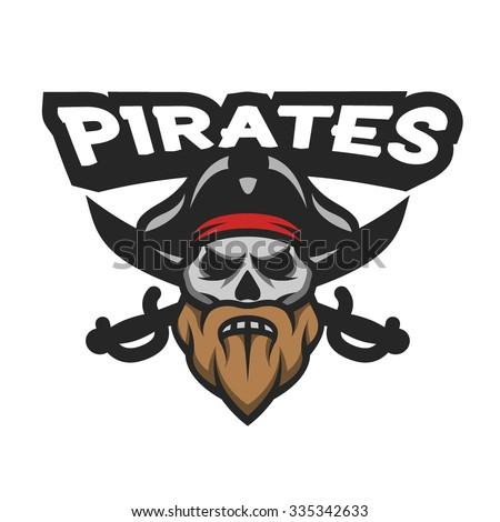 Captain Pirate Skull and crossed sabers badge, logo, emblem. - stock vector