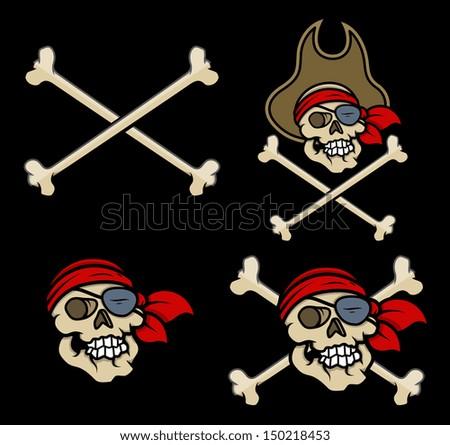 Captain Pirates Skull - Vector Cartoon Illustration - stock vector