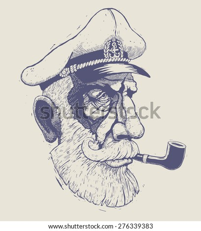 captain, sea-dog. engraving style. vector illustration - stock vector