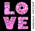 caption love written by patterned hearts - stock vector