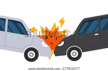 car accident crash close-up illustration vector - stock vector