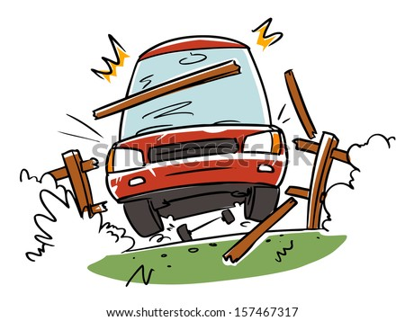 car accident. driver lost control. cartoon illustration - stock vector
